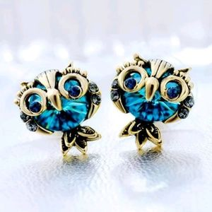 Blue Crystal owl charm Betsey Johnson earrings